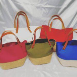 麻ひもと帆布のバッグ